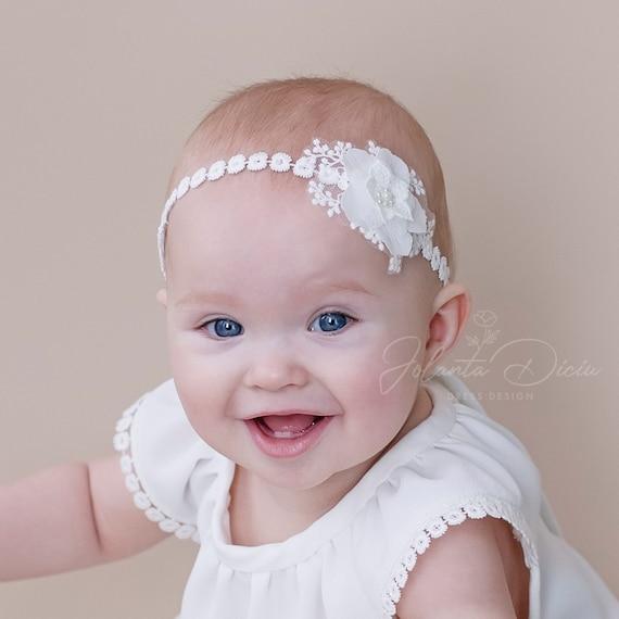 wedding flower girl adult child baby headband baptism cake smash White Black Grey lace headband