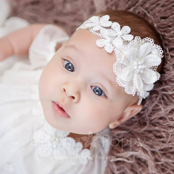 Fille bébé ivoire crème//blanc cassé Baptême bandeau baptême mariage bandeau