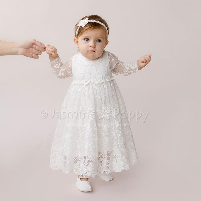 6a2f7e13af9 Robe de baptême pour bébé fille robe de baptême à manches