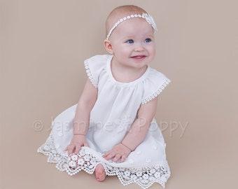 Baby christening dress, baptism dress, baby bohemian dress, lace baby dress, baby dress with daisies, baby summer dress, baby girl baptism