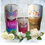 Unicorn Glitter Tumbler with Name