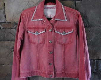 Vintage Red Denim Jacket by Folic, Embellished, Size Medium