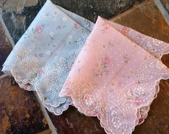 Vintage Handkerchiefs, Pair of 2, one Pale Pink, one Pale Blue, Sheer Nylon, Flocked, Excellent Condition