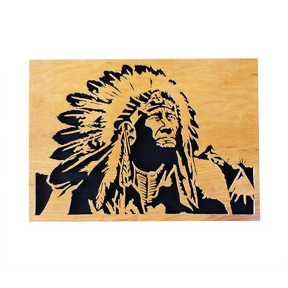 Native American scroll saw portrait Plywood Wall art