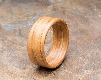 European Oak Ring - custom European oak bentwood wooden ring. Rustic wedding jewellery for men and women.