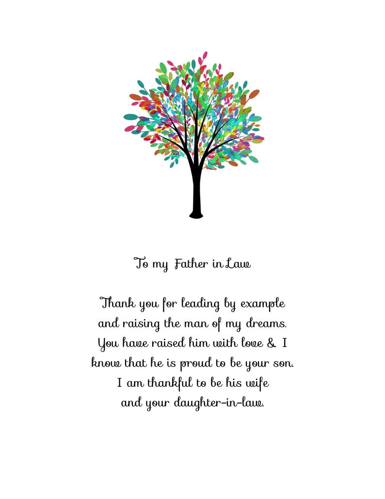 Father in law gift poem for wedding day gift Printable DIGITAL image 0