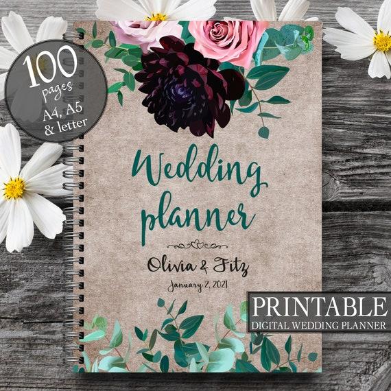 Wedding planner, Floral wedding book, Floral wedding planner, Eucalyptus wedding book, Wedding planner printable, Burgundy wedding planner