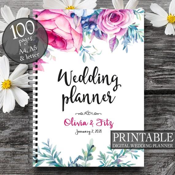 Wedding binder, Wedding book, Pink floral wedding planner,  Printable wedding organizer, Printable wedding planner,  To do wedding list