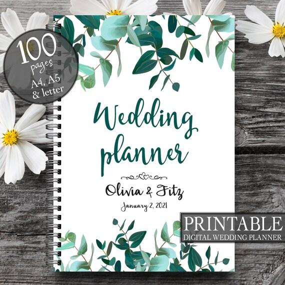 Printable wedding binder, Wedding checklist, Greenery  wedding planner, Printable to do list, Digital  wedding binder, Floral planner