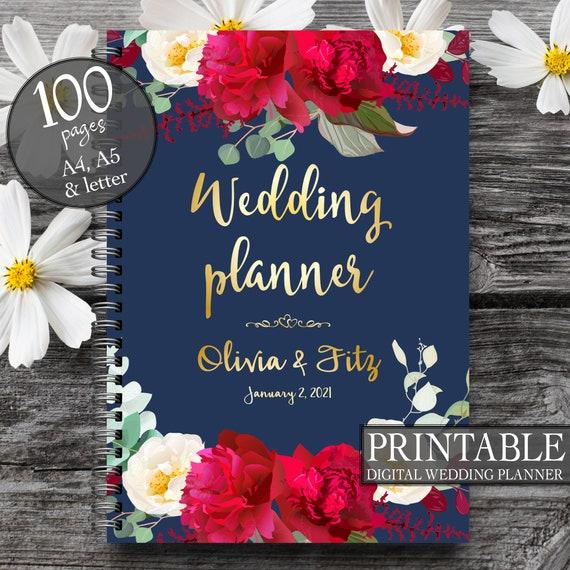 Printable wedding planner, Wedding planner book, DIY wedding guide, PDF wedding kit, Wedding binder, Navy burgundy wedding, Bridal planner