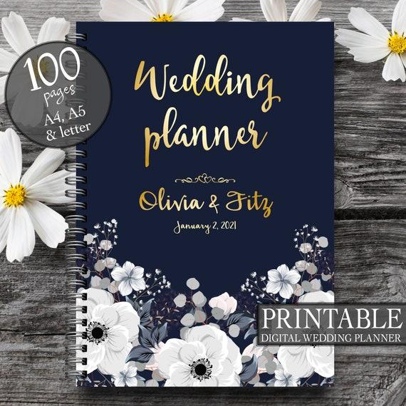 Floral navy wedding planner, Printable wedding planner, Wedding printable binder, Wedding book, Gray ivory boho wedding, To do wedding list