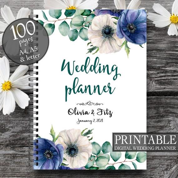 Blue floral wedding planner, Digital wedding binder, Printable wedding planner, DIY floral wedding binder, Blue floral wreath wedding kit