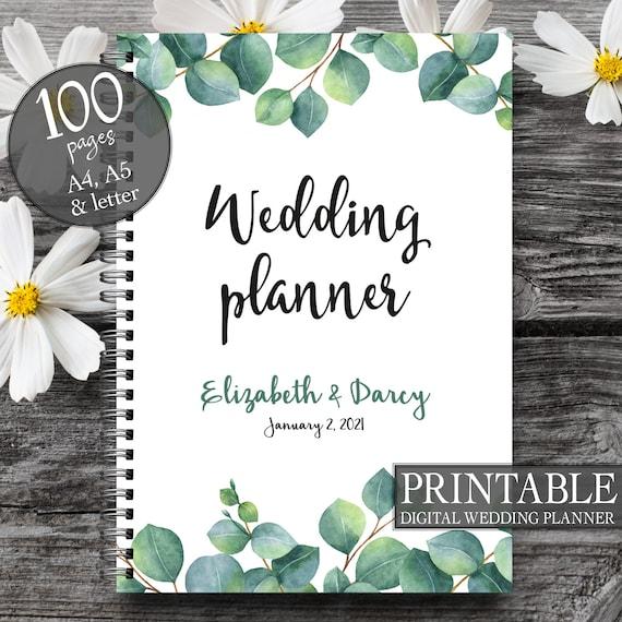 Eucalyptus wedding planner, Wedding to do list, Eucalyptus wedding book, Printable wedding planner, Engagement gift, Green wedding planner