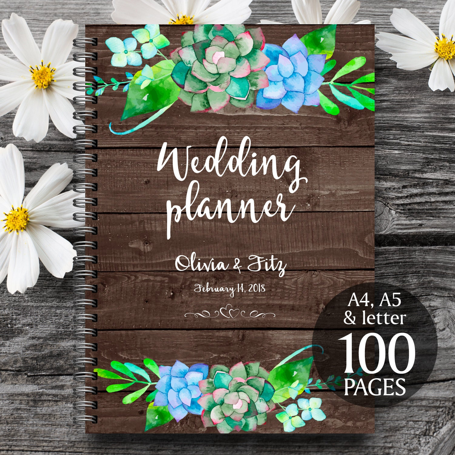 printable wedding planner on wood background succulent wedding