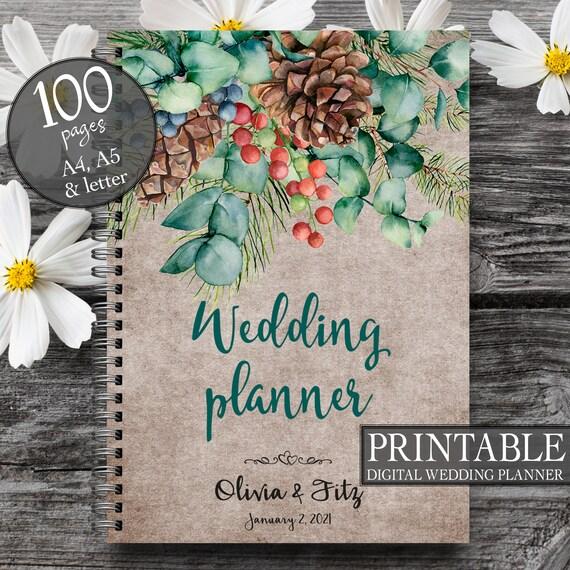 Printable wedding planner, Wedding diary, DIY wedding, Wedding printable insert, Wedding PDF, Bridal shower gift, Autumn wedding planner