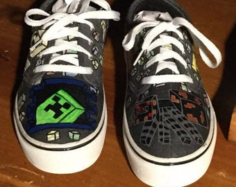933ad857cf4 Hand Painted minecraft shoes (NOT vans)