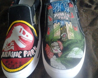 Hand Painted Jurassic Park Shoes 10498e160b89