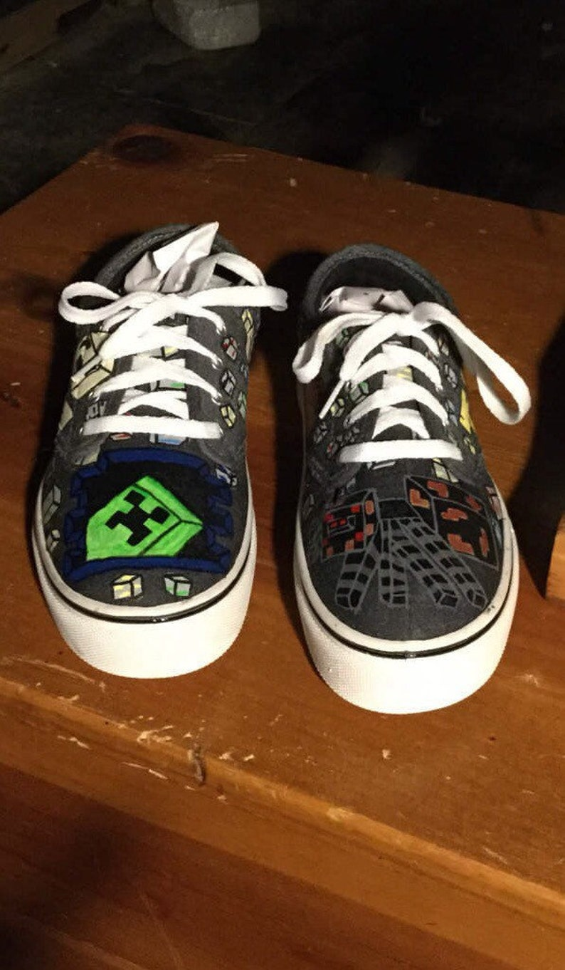 406473a935 Hand Painted minecraft shoes NOT vans