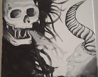 Skull painting acrylic on canvas