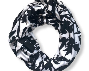 Black and white infinity scarf with hidden zipper pocket.  Tropical leaf Print scarf. Floral print double loop scarf.