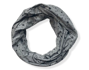 Grey star print Infinity Scarf with hidden pocket made from Bamboo Spandex