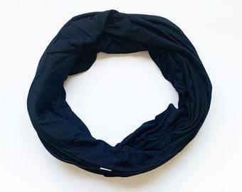 Hidden Pocket Infinity Scarf.  Black Double loop Travel Scarf with Hidden Zipper Pocket