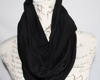 Black Infinity Travel Scarf with Hidden Zipper Pocket / Travel Scarf / Passport Scarf / Mother's Day / Graduation gift / Wanderlust