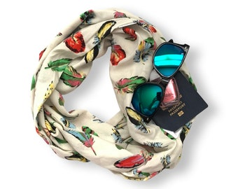 Linen Infinity Scarf with hidden security pocket for valuables.  Vibrant feather print double loop scarf