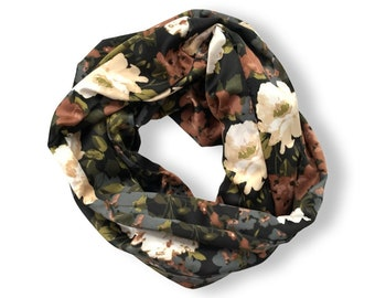 Satin floral print infinity scarf with zippered pocket.  Fall coloured scarf. Free shipping.