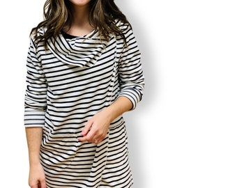 Breton striped jacket. Navy and Ivory Striped Wrap Sweater that is Great for Travel.
