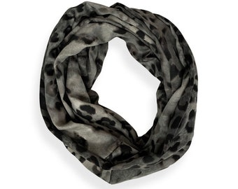Gray Animal Print Infinity Scarf with hidden security pocket for valuables. Double loop Leopard print pocket scarf.  Free shipping.