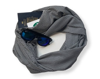 Black and white graphic print lightweight Infinity Scarf with Hidden Pocket