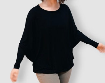 Batwing sleeve T-shirt. Bamboo oeko Tex certified. Relaxed fit shirt. Comfortable clothing