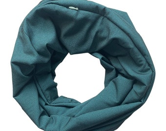 Teal and black Infinity scarf with hidden zipper pocket. Pocket scarf