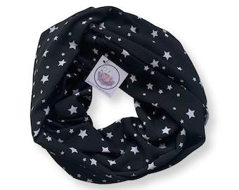Black star print scarf with hidden zipper pocket.  New mom gift