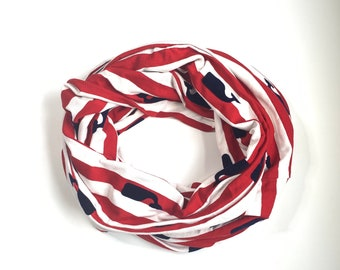 Red and white stripe whale print Infinity Scarf with hidden pocket made from Bamboo Spandex