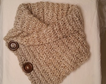 Women's Collared Button Cowl Scarf