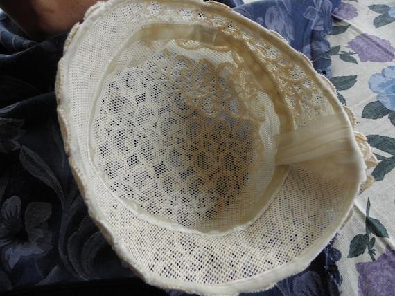 Vintage Ladies hat, 1930s or 1940s, off white, la… - image 4