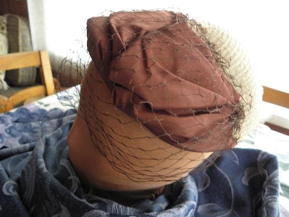 Vintage Ladies hat, 1930s, 1940s, off white,struc… - image 2
