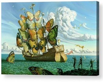 "Salvador Dali ""Butterfly Boat"" Repro Canvas Box Art A4, A3, A2, A1"
