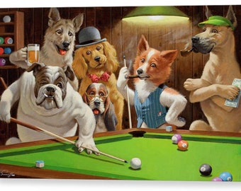 Dogs Playing Pool by Arthur Sarnoff Famous Canvas/ Photo / Fine Art Print A4, A3, A2, A1