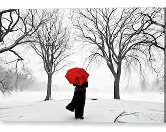 Girl Red Umbrella in the Snow CANVAS ART/ PRINT A4, A3, A2, A1