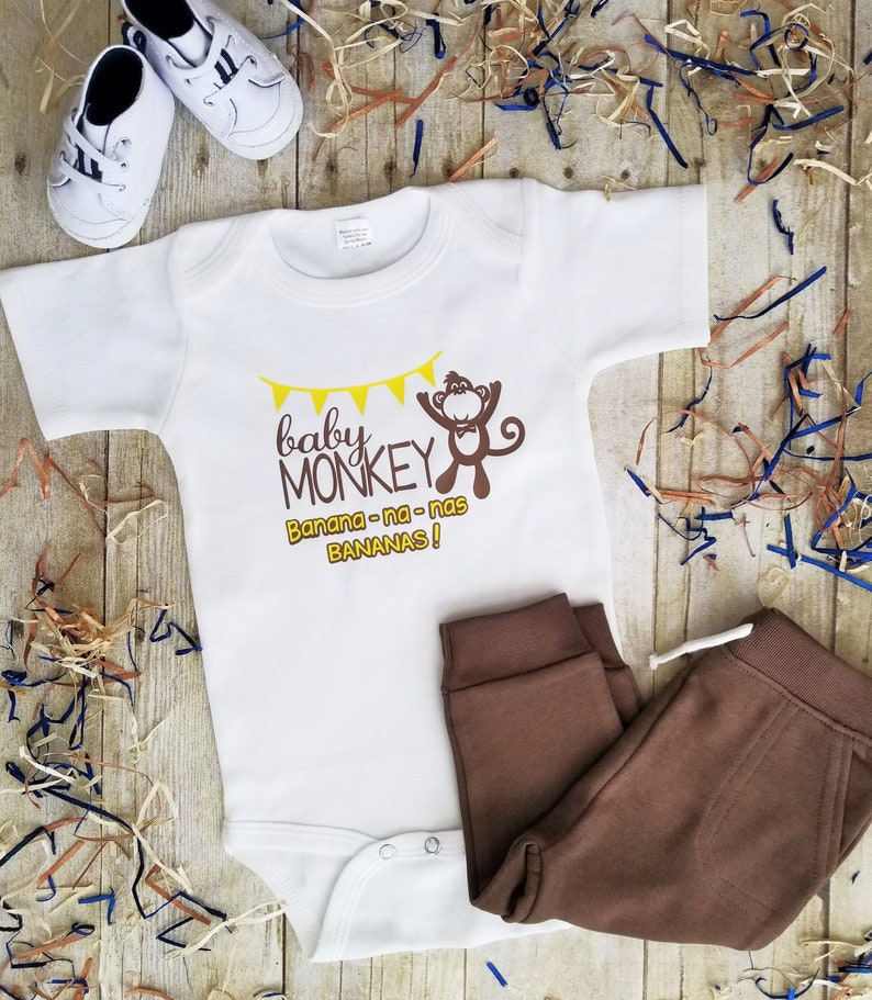 Baby Monkey infant bodysuit, Bananas, premium bodysuit softer and thicker  than Onesie™, baby shower, gift, cute and popular