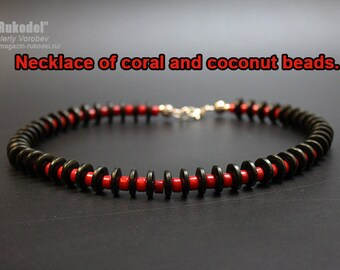 Necklace of coral and coconut beads.  Boho beaded necklace. Beaded jewelry for women.
