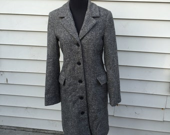 Long Textured Wool Overcoat in size Sm