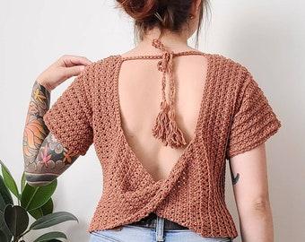 Crochet Top PATTERN // Coffee Date // Adjustable  Twist Open Back Crochet Tee Novice Crochet Pattern for ANY SIZE