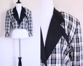 Vtg Contrast Collar Petite Blazer Plaid Blazer Cropped Blazer 80s Blazer Short Blazer Oversized Collar Notched Collar Shoulder Pad Blazer