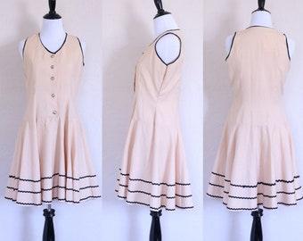 Peach Formal Dress Seashell Buttons Light Peach Dress Shirt Waist Dress Shirtwaist Dress Beige Formal Dress Short Formal Dress Circle