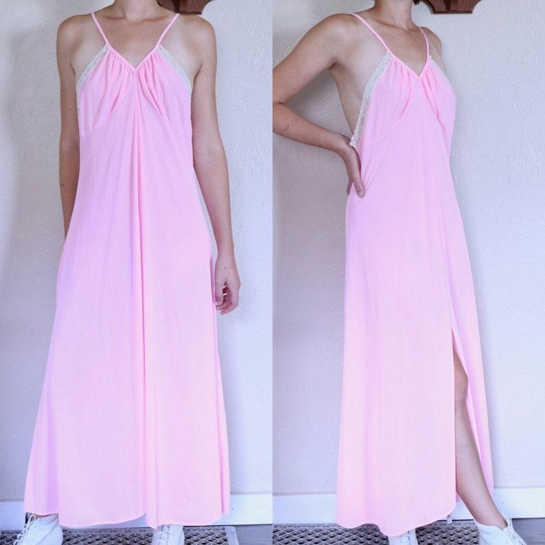 0a10b986053 Romantic Lingerie Front Slit Dress Romantic Nightgown Pink