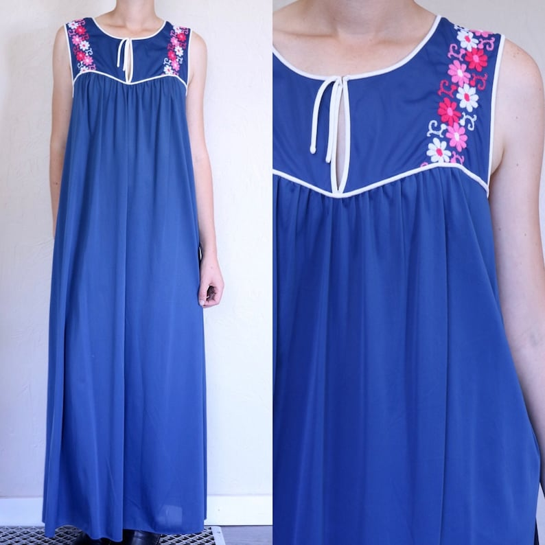 1ce32035cd5 Floral Nightdress Sleeveless Nightgown Summer Nightgown Blue